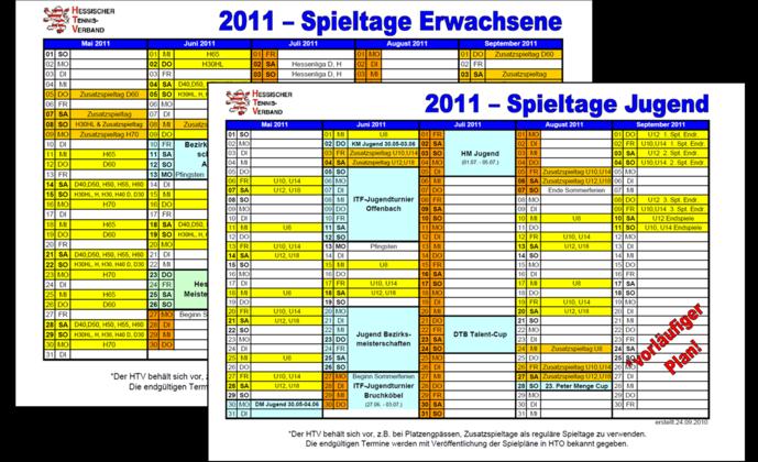 Rahmenterminpläne 2011 online
