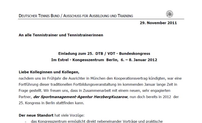 Einladung zum 25. DTB / VDT Bundeskongress