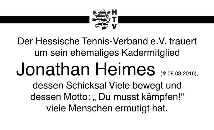 Trauer um Jonathan Heimes