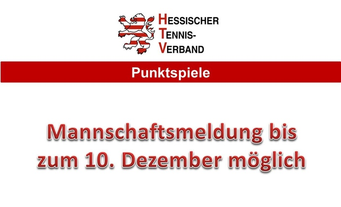 Mannschaftsmeldung bis zum 10. Dezember 2014
