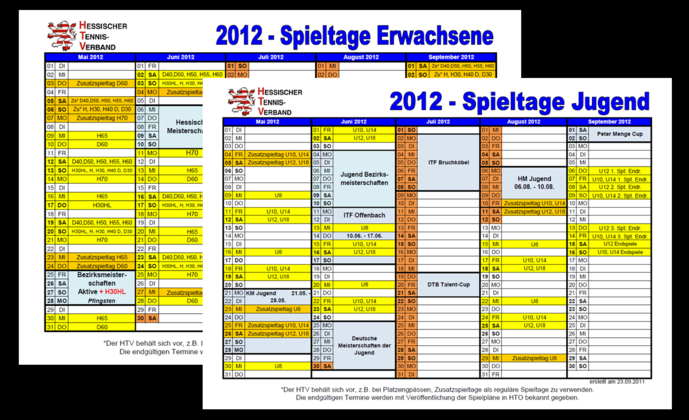 Rahmenterminpläne 2012