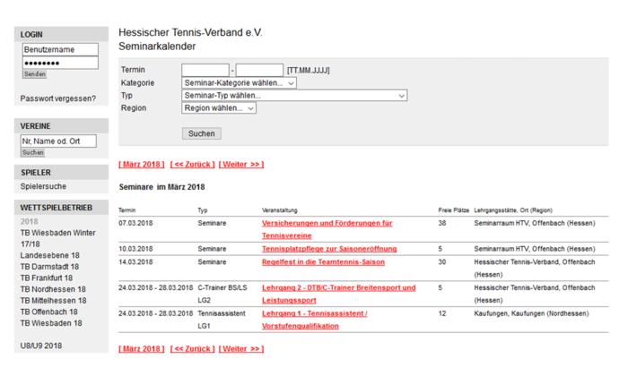 Einführung Online Seminarkalender